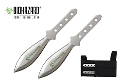 2 Pcs Biohazard Silver Throwing Knife Set with Sheath 5.5 inches Thrower - A1040ACH