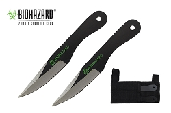 2 Pcs Biohazard Two Tone Throwing Knife Set with Sheath 5.5 inches Thrower - A1040CBK