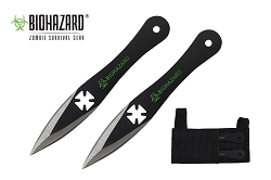 2 Pcs Biohazard Two Tone Throwing Knife Set with Sheath 5.5 inches Thrower - A1040F