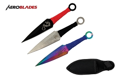 3 Pcs Aero Blades Multi Kunai Throwing Knife Set with Sheath 6.5 inches Thrower - A11303ASTD