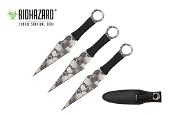 3 Pcs Biohazard Skulls Blade Throwing Knife Set with Sheath 9 inches Thrower - A80223SK