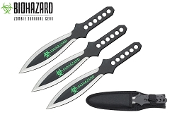3 Pcs Biohazard Black Blade Throwing Knife Set with Sheath 9 inches Thrower - A80663B