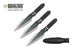 3 Pcs Biohazard Black Blade Throwing Knife Set with Sheath 9 inches Thrower - A80773A