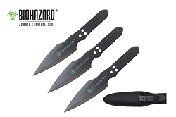 3 Pcs Biohazard Black Blade Throwing Knife Set with Sheath 9 inches Thrower - A80773B