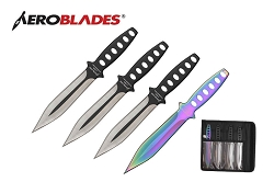 4 Pcs Aero Blades Throwing Knife Set with Sheath 7.5 inches Thrower - A00094BK