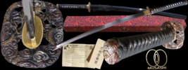 By Musashi - Doragon Shukun Full Tang Functional Hand Forged Katana Sword with Serial #, Certificate of Authenticity, Free Cloth Bag & Storage Box