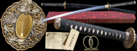 By Musashi - Za Hebi Kokuou Full Tang Functional Hand Forged Katana Sword with Serial #, Certificate of Authenticity, Free Cloth Bag & Storage Box