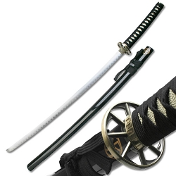 Oriental Sword Stainless With Black Lacquer Finish Scabbard