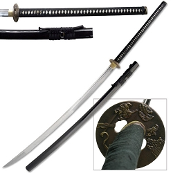 Hand Forged Carbon Steel Samurai Sword With Real Ray Skin Wrapped Handle With Bronze Tsuba