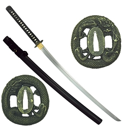 Hand Forged High Carbon Steel Samurai Sword With Dragon Design Tsuba