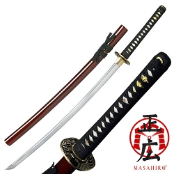 Hand Forged Carbon Steel Samurai Sword With Zinc Alloy Tsuba, Maroon Lacquer Finish Scabbard
