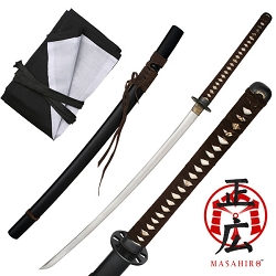 Hand Forged High Carbon Steel Samurai Sword With Real Ray Skin, Sinogi Zukui Shape