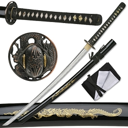 Hand Forged Carbon Steel Samurai Sword With Real Ray Skin, Black Lacquer Finish Scabbard