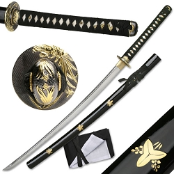 Hand Forged Carbon Steel Samurai Sword With Real Ray Skin, Zinc Alloy Tsuba