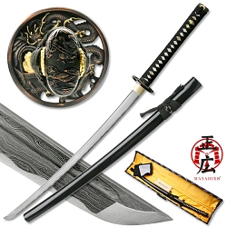 Hand Forged Carbon Steel Samurai Sword With Real Ray Skin, Zinc Alloy Dragon Tsuba & Kashira