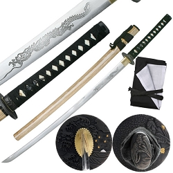Hand Forged Carbon Steel Samurai Sword With Wood Lacquer Finished Scabbard (Non-Color Treated)