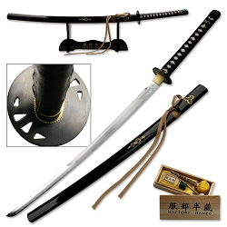 Hand Forged Carbon Steel Samurai Sword With Black Lacquer Scabbard With Display Stand And Clean