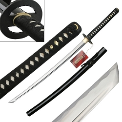 Hand Forged Carbon Steel Samurai Sword With Solid Iron Tsuba And Fitting Collectible Hang Tag