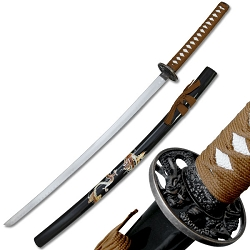 Oriental Sword With Brown Cord Wrap With Dragon Guard
