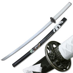 Oriental Sword With White Cord Wrap With Dragon Guard