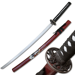 Oriental Sword With Black Cord Wrap With Dragon Guard