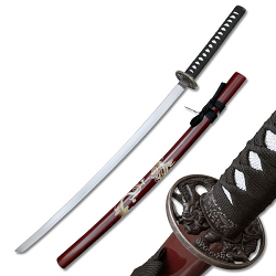 Oriental Sword With Burgundy Scabbard With Dragon Painting