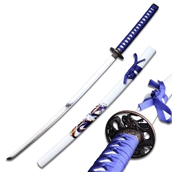 Oriental Sword With Blue Cord Wrap With Dragon Guard
