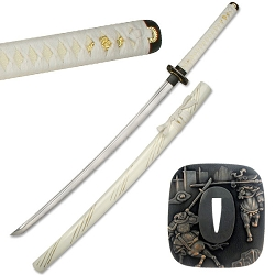 Hand Forged Carbon Steel Samurai Sword With White Cotton Wrapped Handle, Zinc Alloy Tsuba