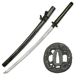 Hand Forged CarbSW-941BKon Steel Samurai Sword With  Black Cotton Wrapped Handle, Zinc Alloy Dragon Tsuba