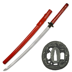 Hand Forged Carbon Steel Samurai Sword With Red Cotton Wrapped Handle, Zinc Alloy Dragon Tsuba