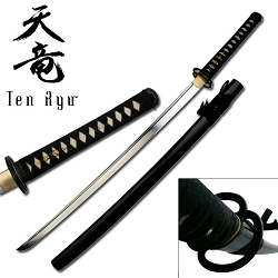 Hand Forged Carbon Steel Samurai Sword With Musashi Tsuba And Real Ray Skin Handle