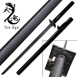 Hand Forged Damascus Blade Samurai Sword With Black Cotton Wrapped Handle With Real Ray Skin