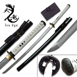 Hand Forged Carbon Steel Samurai Sword With White Leather Wrapped Handle With Real Ray Skin, Dragon Tsuba