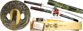 By Ryumon - Bamboo Carved Fully Functional Sword Katana with Certificate of Authenticity