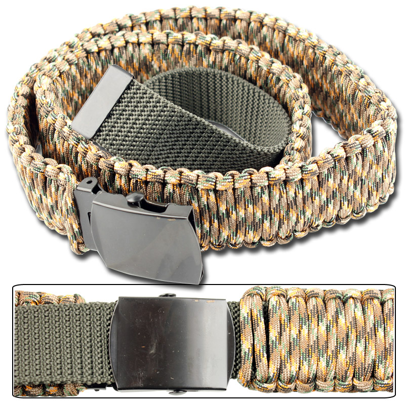 550 paracord survival belt autumn camo for How to make a belt out of paracord