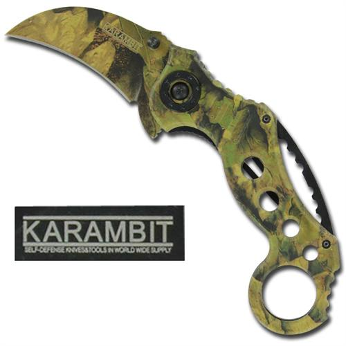 Forest Camo Karambit Spring Assisted Tactical Knife