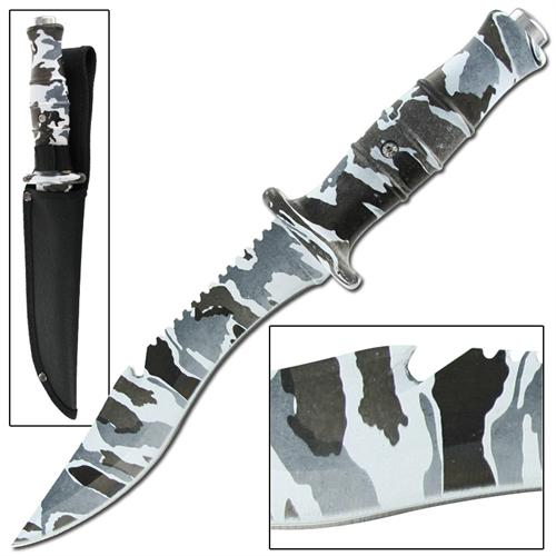 Master Survival Outdoor Hunter Arctic Camo Bowie Knife