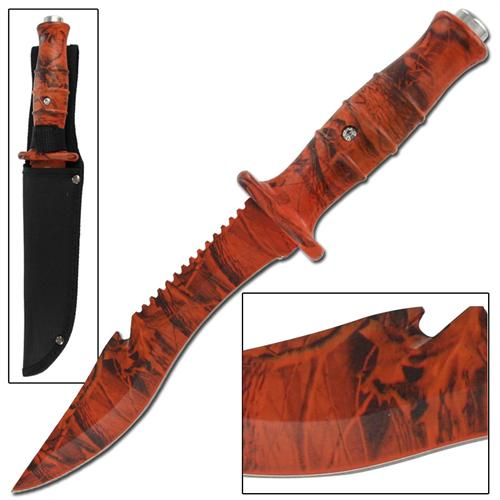 Master Survival Outdoor Hunter Orange Camo Bowie Knife