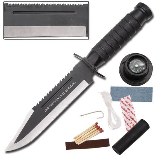 One Shot One Kill Black Survival Hunting Knife
