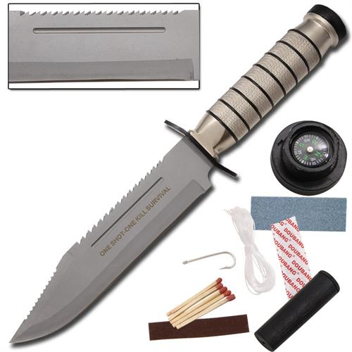 One Shot One Kill Survival Hunting Knife Silver
