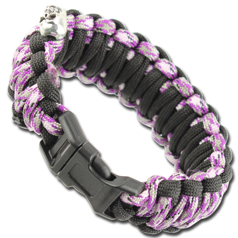 Skullz Survival Military Paracord Bracelet-Purple Camo & Black