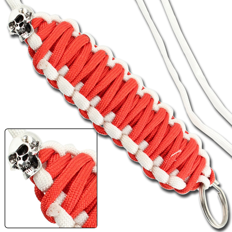 Skullz survival necklace keychain paracord red white for Survival rope keychain