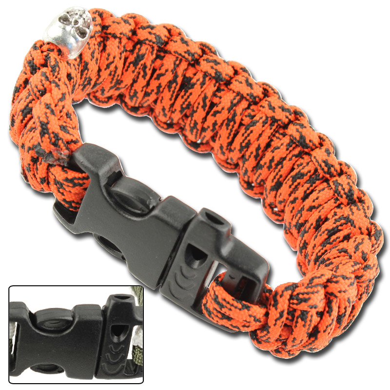Skullz Survival Whistle 17.06 FT Paracord Bracelet-Atomic Red