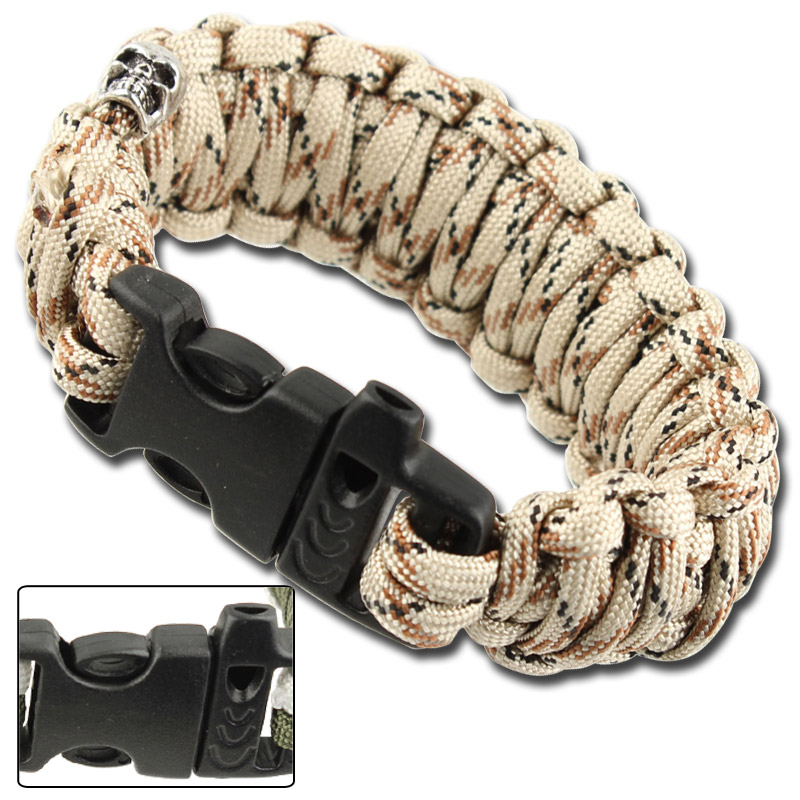 Skullz Survival Whistle 17.06 FT Paracord Bracelet-Desert Camo