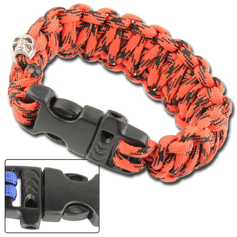 Skullz Survival Whistle 17.06 FT Paracord Bracelet-Digital Red