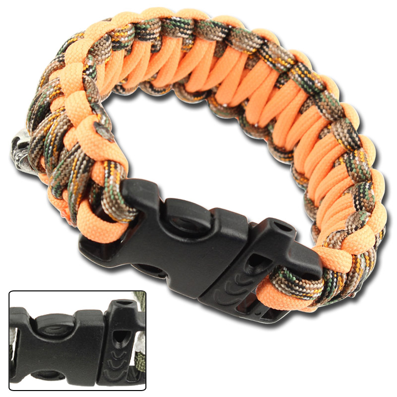 Skullz Whistle Paracord Bracelet-Orange Woodland Camo