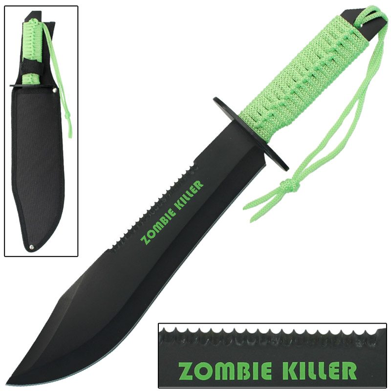 Zombie Killer Sawback Bowie Full Tang Survival Knife