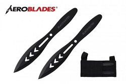 AeroBlades 2PC Black Water Throwing Knife Set with Sheath 5.5 inches Thrower - A10302B
