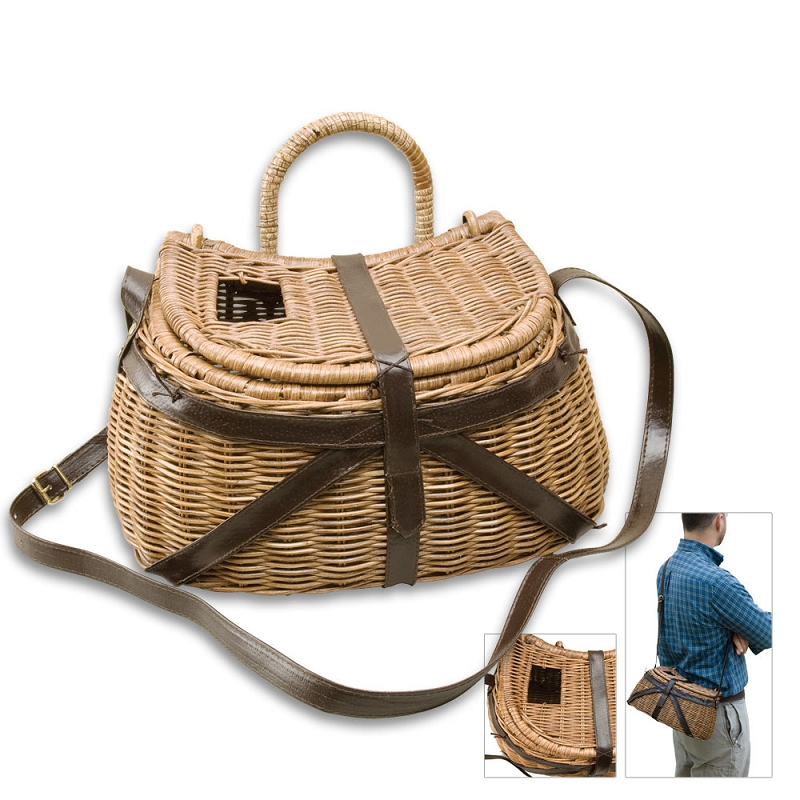 Wicker fishing creel with leather strap for Fly fishing creel