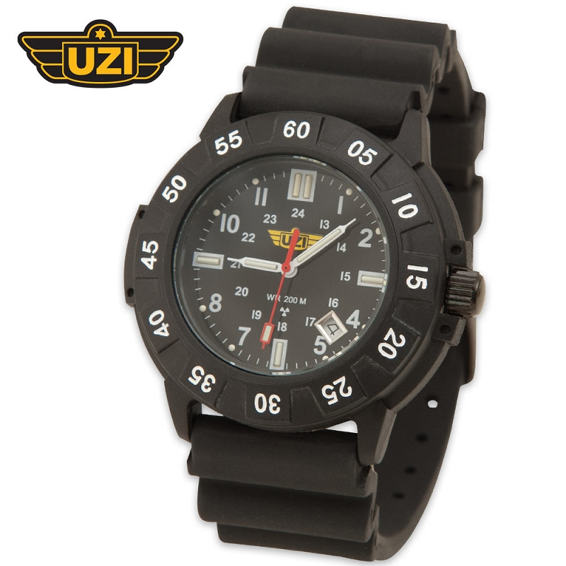 Uzi Protector Watch Black Face Rubber Band